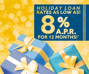"""A banner on top of gifts reading """"Holiday Loan rates as low as 8% APR for 12 months!"""""""