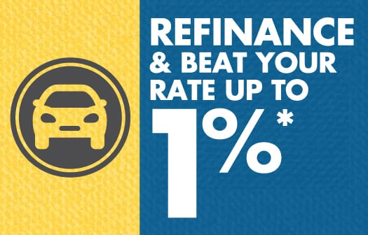Icon of a car to the left of the bolded words: Refinance & beat your rate up to 1%