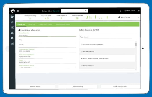 Screenshot of the new LobbyTracker check-in system