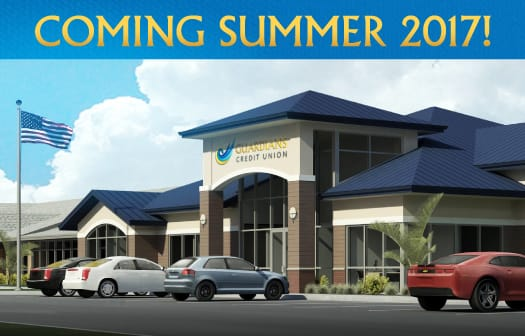 Architectural rendering of the new branch under the words: Coming Summer 2017!