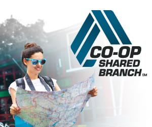 Woman wearing blue sunglasses and a backpack holding a map to the left of the CO-OP Shared Branch logo
