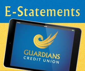 Guardians Credit Union logo on an iPad below an E-Statements banner