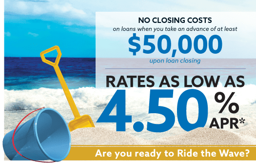 Ride the Wave banner showing a bucket and shovel on a sandy beach to the left of the words: Rates as low as 4.50% APR