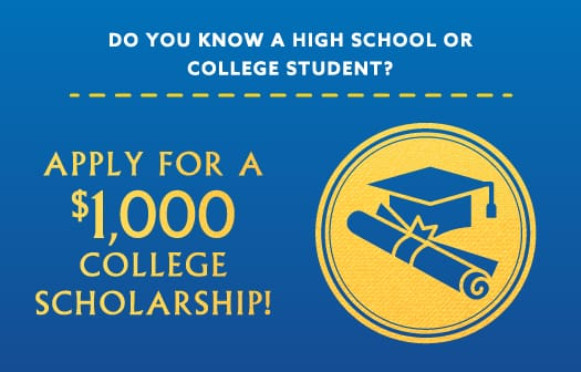 Icon of a graduation cap to the right of the words: Apply for a $1,000 college scholarship!