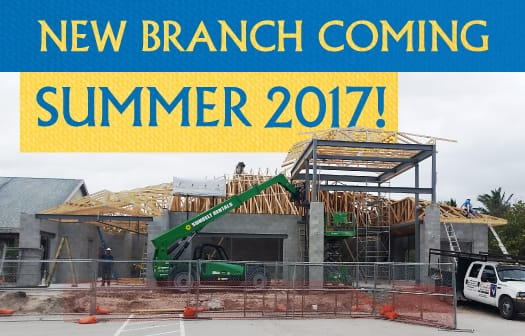 Picture of the new branch construction with a banner reading: New Branch Coming Summer 2017!