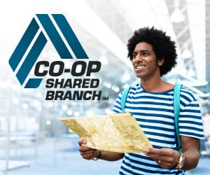 Man wearing a backpack holding a map to the right of the CO-OP Shared Branch logo