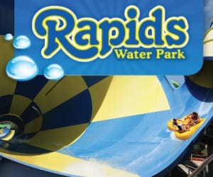Rapids Water Park logo over images of water rides