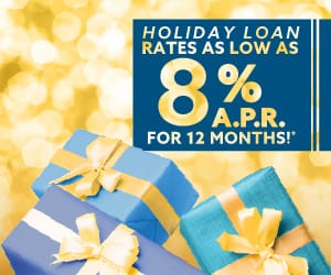 Gifts under a banner reading: Holiday Loan rates as low as 8% APR for 12 months!