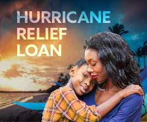 A sad woman holding a young child below the title: Hurricane Relief Loan