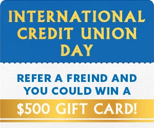 A card reading: Refer a friend and you could win a $500 gift card!