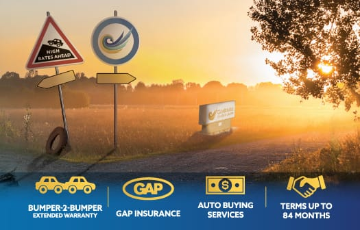 Crossroad with two signs: High rates ahead and the Guardians logo. Across the bottom, icons for: Bumper-2-Bumper Extended Warranty, GAP Insurance, Auto Buying Services, Terms up to 84 months.