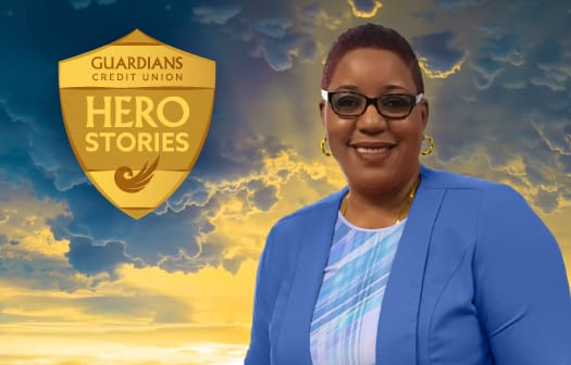 Karen Thompson headshot with the Guardians Credit Union Hero Stories badge at the upper left.
