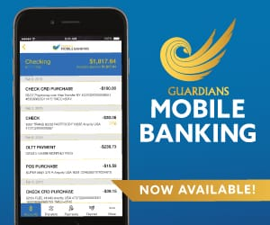 iPhone screen with Guardians Mobile Banking logo