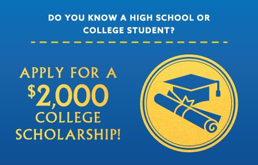 A graduation cap and diploma icon to the right of the words: Apply for a $2,000 college scholarship!