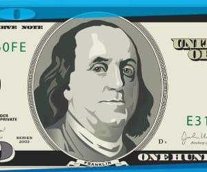 Benjamin Franklin on a $100 dollar bill.