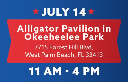 A banner saying: July 14. Alligator Pavilion in Okeeheelee Park between 11am - 4pm.