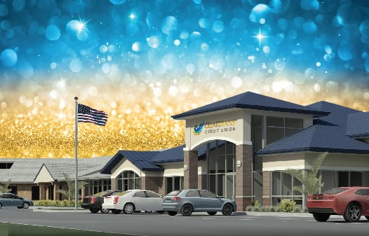 A 3D rendering of the new Guardians Credit Union branch