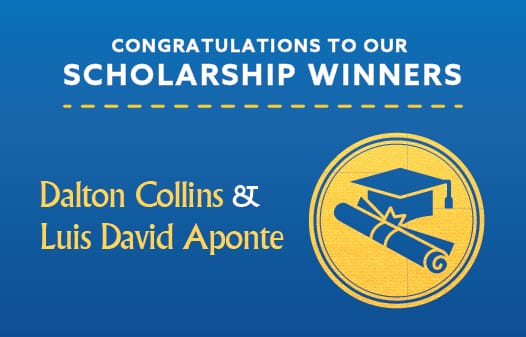 Against a solid background the words: Congratulations to our scholarship winners.