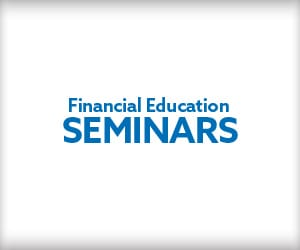 """The words """"Financial Education Seminars"""" in blue against a white background."""