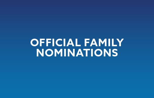 "In white, the words ""Official Family Nominations"" against a blue background."