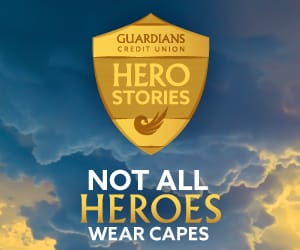 Guardians Hero Stories logo with the words below: Not all heroes wear capes.