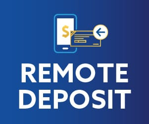 An illustration of a check moving into a mobile phone with the words below: Remote Deposit