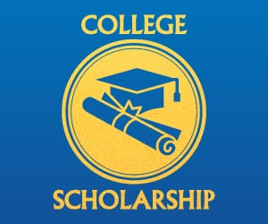 A degree scroll and graduation cap icon between the words: College Scholarship