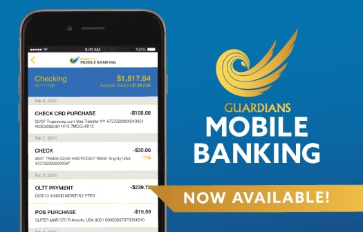 A screenshot of the Guardians Mobile Banking app on a smartphone.