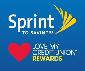 The Sprint To Savings logo and the Love My Credit Union Rewards logo.
