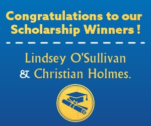 A solid blue tile with the words in yellow: Congratulations to our scholarship winners! Lindsey O'Sullivan and Christian Holmes