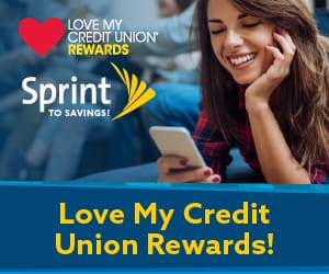 A young woman lying down using a mobile phone. At the top left, the Love My Credit Union Rewards logo.