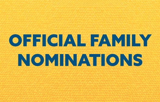 Blue words against a yellow background: Official family nominations