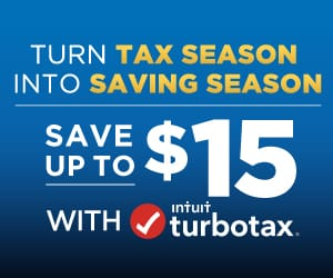 Turn tax season into saving season. Save up to $15 with turbotax.