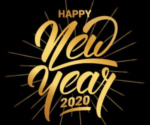 Happy New Year 2020 in gold cursive font against a black background.