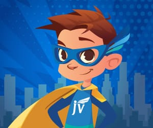 JV Club mascot wearing a cape and a blue mask.