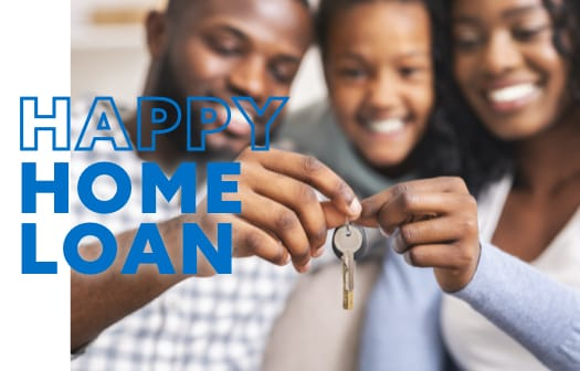 A family of three holding the keys to a new home. At the center, the words: happy home loan