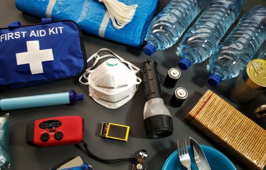 Collection of first aid supplies.
