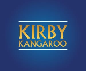 Kirby Kangaroo logo against a blue background.