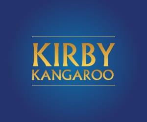 Kirby Kangaroo logo against a blue background.