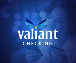Valiant Checking logo against a blue background.
