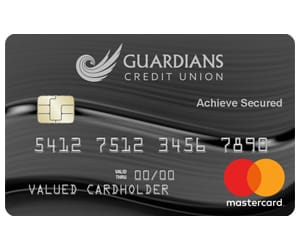 A view of the Achieve Secured credit card.