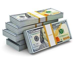 Stacks of $100 bills