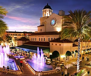 A nighttime view of CityPlace in West Palm Beach, FL